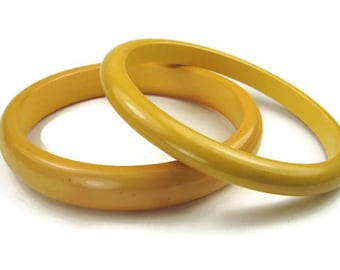 Bakelite Bangle Bracelets in Yellow