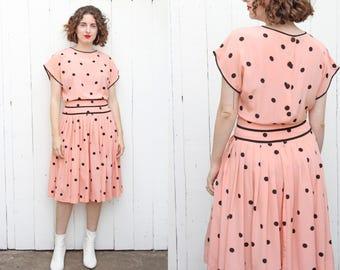 Vintage 80s Dress | 80s Albert Nipon Silk Polka Dot Dress Pink Black | Medium M