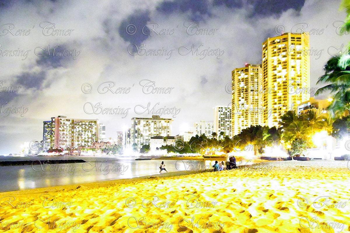 Waikiki Skyline Hawaiian Decor Honolulu Cityscape Photo Art