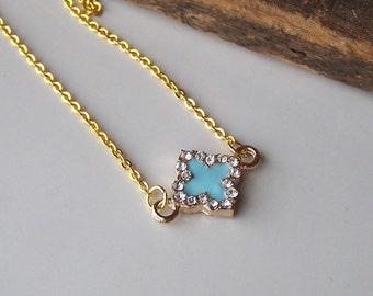 REDUCED Quatrefoil, Four Leaf Clover, Blue Enamel Necklace, Rhinestone Necklace, Plastic, Etsy, Etsy Jewelry, Beaded Necklace