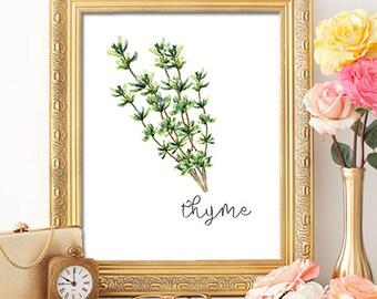 Herbs Thyme - 8x10 - Printable Art, Dorm Decor, Wall Art, Kitchen Art, Home Decor, Herb Art, Herb Prints, Herb Wall Art