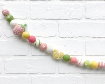 Strawberry Lemonade Felt Pom Bunting | Summertime Felt Ball Garland
