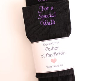 Special Socks for a Special Walk Custom Date Wedding Socks. Suit Socks. BLACk Formal. Father of the Bride Gift. embroidered Socks. F23LB8