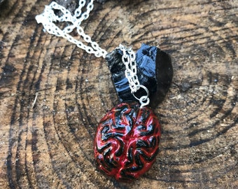 Black with blood zombie brain