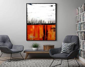 Original Orange Abstract Painting on Canvas  , 39x27,  Modern Wall Art , Motivational Art,  !