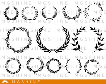 Leaves monogram SVG cutting files for Cricut and Silhouette Cameo - Leaves monogram png clipart - Leaves monogram dxf vector files - TS20