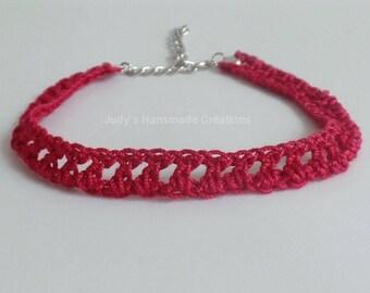 Red Crochet Choker Necklace, Choker Necklace, Red Lace Choker, Red Choker Necklace, Popular Necklace, Handmade Choker Necklace