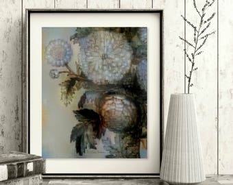 Grisanthemums 3: Printable Floral Wall Art, Digital Download, All Sizes, Gray, Blue, Decor, Flowers, Contemporary, Free Accent Prints