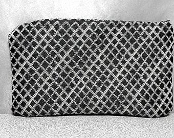 Zipper Pouch Small Clutch Pouch Black Silver Bag Gift for Friend Gift Bag