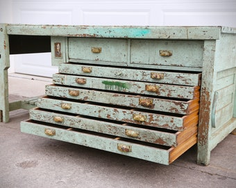 Antique Economy Drawing Table Co. Toledo, OH Oak Wood Drafting Table Desk Industrial Architect Artist Primitive Kitchen Island Mint Green