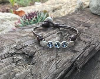 Bracelet, bohemian bracelet, boho bracelet, leather bracelet, swarovski bracelet, silver bracelet, spanish zamak