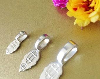 25 Aanraku Silver Plated Bails  Medium  Glass Tile Pendants   12x7mm Glue Pad