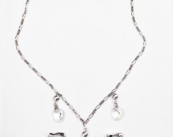 Glass Heart Necklace and Earrings, Sterling Chain, Jewelry Set, Vintage Jewelry