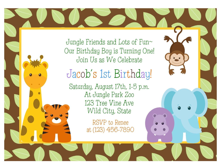 JUNGLE ANIMALS 1st Birthday Invitation/ Baby Shower