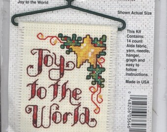 Joy to the World Mini Counted Cross-Stitch Kit With Hanger