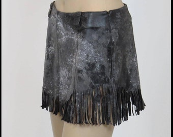 WARRIOR SKIRT Post Apocalyptic Skirt Black LEATHER Fringe Skirt Fallout Skirt Mad Max Leather Skirt Size SMaLL