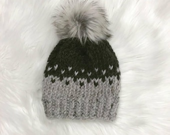 Gray beanie with faux fur pom, knitted hat with faux fur pom, gray hat, gray winter hat