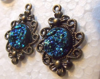 Stunning   Blue  Druzy  Color Changing Drop Earrings!