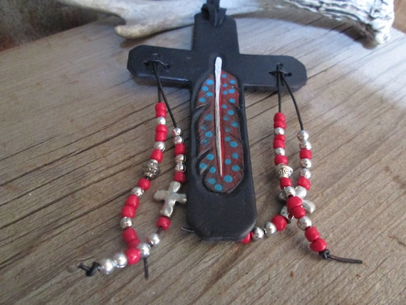 Black and Red Leather Saddle Cross, Leather Purse Charm