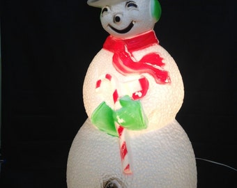 "41"" extra large snowman light up Christmas yard lawn ornament; whimsical kitschy outdoor light plastic blow mold; yesteryears Union product"