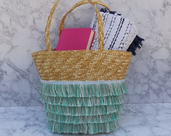 Straw Beach Tote With Multi-Coloured Blue Fringe