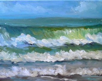 """Seascape Oil Painting, Impressionist Oil Painting, Ocean Waves, 8x16x.75"""" Original Art, """"Atlantic Breakers"""", Free Shipping in US"""