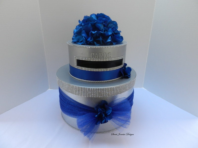 Royal Blue Wedding Cake Card Box Bling Ribbon