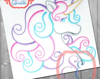 UNICORN SATIN OUTLINE Embroidery Design For Machine Embroidery