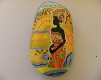 african theme hand painted stone