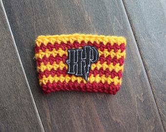Harry Potter Coffee Cozy, Crochet Coffee Cozy, Harry Potter Fan gift, Coffee gift, Reusable Cup Sleeve