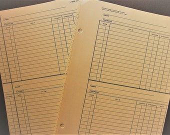 Vintage Ledger Pages Pack with Vintage Map Wrap, 25 Yellow Lined Papers, Columns