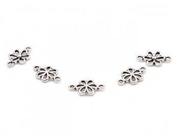 50 silver 6 petal flower connector matte 15mm