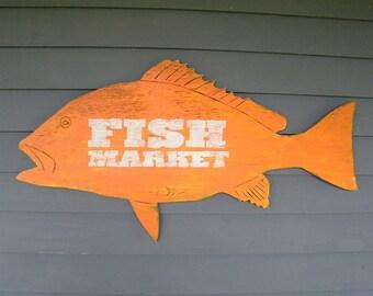 Fish Sign Snapper Fish Market Trade Sign Wall Art Beach Coastal Sign Fish Decor Outdoor Options