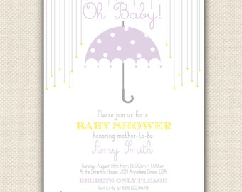 Oh Baby Shower Invitation, Umbrella Shower Invite, Custom Digital Invitation