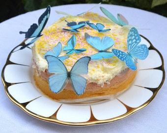 Edible BLUE Butterflies 3D Wafer Rice Paper Fantasy Butterfly Midnight Pastel Woodland Wedding Cake Decorations Rustic Cupcake Toppers RTD