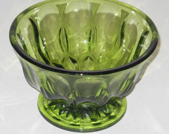 Vintage Dark Green Glass Candy Dish Footed Compote