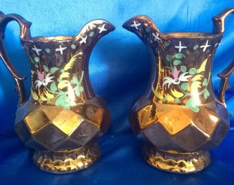 Pair of Victorian Copper Diamond Lustre Water Jug/Pitcher,  Handpainted