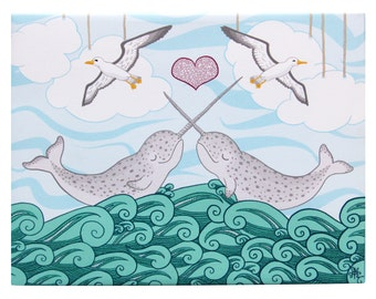 Narwhal Art on Canvas 8x10 by Athena Mariah LaRue