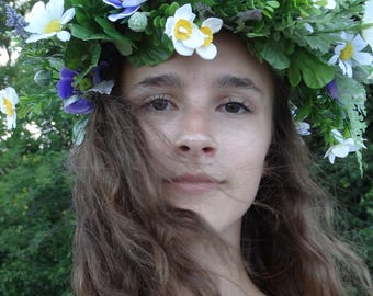 Wildflower Crown- white, purple, green