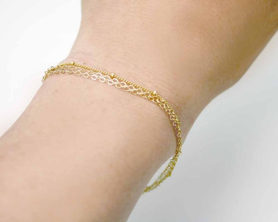 Triple Gold Filled Chain Layering Bracelet. Simple Multi Strand Bracelet with Fresh Water Pearls. (LMB-362)