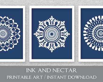 Printable Wall Art, Printable Artwork, Navy Printable Art, Set of 3 Prints, 8x10, Blue Art, Printable Art, Digital Prints, Medallion Art