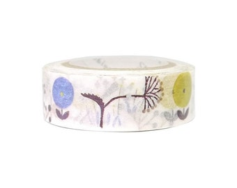 """Washi Tape """"Wild Flower"""", 5/8"""" (16mm) x 11 Yards (10 Meters) Decorations, Gift Wrapping, Planners, Scrapbooking, Card-Making, Wedding"""