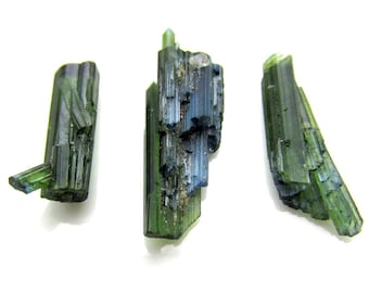LOT of 3 Green Tourmaline Crystals - 11.8ct TW - Jewelry Supply Wire Wrapping Natural Gemstone