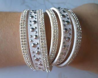 x 1 pattern rhinestones/studs silver 40 cm white multi strand leather bracelet