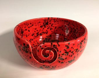 Yarn Bowl in Red with Black Spots