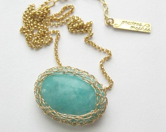 Amazonite Gold Mesh Necklace Precious Meshes