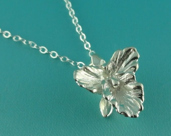 Cattleya Necklace, Silver Flower Necklace, Silver Orchid Necklace, Silver Necklace, Cattleya Orchid, Wedding Bridesmaid Gifts