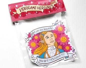CHARITY: Video Game Heroines Sticker Pack - 5 Sticker Set of Zelda/Ellie & Clementine/The Boss/Tifa/Samus Aran