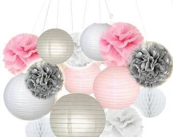 14pcs Mixed Pink Gray White Tissue Pom Poms Hanging Paper Lantern Honeycomb Ball Nautical Wedding Birthday Baby Shower Decoration