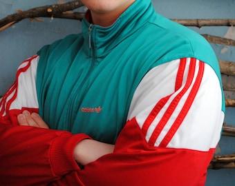Vintage ADIDAS windbreaker men's sport jacket 1990s 1980s women's blazer red white green unisex wind jacket